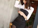 2015春季新款韩版性感修身包臀连衣裙新款职业女装衬衫条纹连衣裙