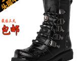 14冬季新款时尚金属潮流头层牛皮靴子真皮男靴中筒马丁靴