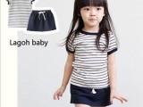 童装批发厂家直销童装 女童套装 短t夏装 条纹短袖纯棉学生装短裙