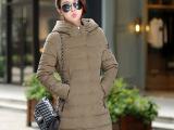 2014冬季韩版时尚新款棉衣女中长款修身显瘦连帽羽绒棉服女装批发