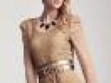 梦芭莎女装专柜正品2012新款秋装浪漫立体蕾丝雕花泡泡袖T恤