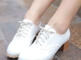 2014韩版粗跟小白鞋真皮女鞋中跟系带女单鞋牛津女鞋
