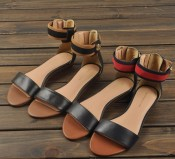 2014外贸新款凉鞋 牛皮低跟罗马女凉鞋