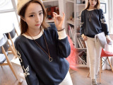秋季新款韩版女装宽松卫衣绣花上衣薄款长袖卫衣女批发