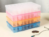 24格 透明塑料首饰盒小格子收纳盒药盒储