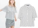 欧美风2014夏季新品ZARA宽松波点衬衫 衬衣 女