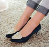 2014春款新品真皮女鞋爆款 低跟单鞋 尖头鞋淑女风 厂家直销批发