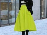 欧美复古高腰荧光黄绿色黑色泰丝超长款及踝蓬蓬半身伞裙U2-280