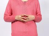 批发 中高档纯手工镶钻镂空针织羊毛衫女式  长袖宽松低领毛衣女