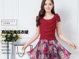 中年夏季新款休闲连衣裙2015大码气质短袖假两件雪纺中裙潮