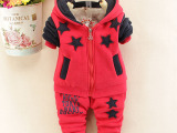 冬装童套装 中小女童加厚加绒卫衣套装 韩版儿童五角星宝宝两件套