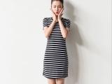 2015新品代理加盟批发 修身气质弹力棉质圆领连衣紧身T恤短裙女