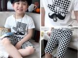2014韩版童装 儿童夏装胡子黑白格子中裤男童两件套 儿童休闲套