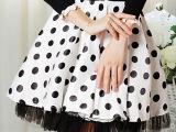 (模特实拍)2014夏装白底黑点高腰大摆网纱花边蓬蓬裙半身裙