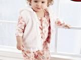 秋季新款白色草莓/粉色小花印花哈衣+小马甲 童装两件套CHY01