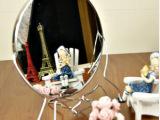 E2221-6寸 铁边镜,镀银圆形双面镜子,化妆镜梳妆镜美容镜复