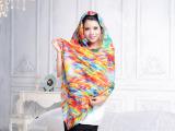 国色天香羊绒围巾披肩两用女细羊毛新款电脑喷绘空调披肩西域风情
