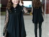 2014秋装新款加大码女装胖mm显廋上衣加肥加大蕾丝雪纺衬衫雕花