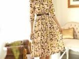 2015新品夏装品牌代购褶皱雪纺印花波西米亚沙滩裙长裙 连衣裙