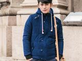 韩版潮男连帽条绒棉衣 男士修身棉服外套 时尚加绒男式棉袄 男装