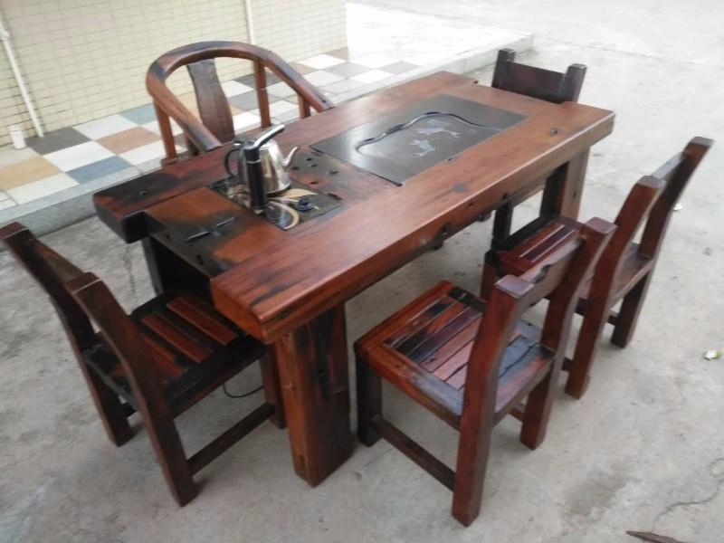 中山老船木家具龙骨茶桌船木家具工厂定做