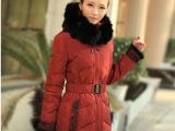 红/豆 正品女装羽绒服女中长款新款加厚羽绒服 冬装外套女9860