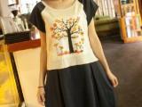 森女系贴布彩色印花大树韩版拼色中长款休闲短袖连衣裙女夏