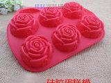 现货 易脱模硅胶蛋糕模具 六连孔玫瑰花朵模 玫瑰 手工皂模具