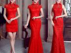 2015夏季新款新娘结婚敬酒服短款婚礼旗袍礼服修身红色鱼尾批发