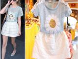 2014夏季新款欧洲站雏菊花朵亮片蕾丝短袖T恤蓬蓬裙2件套装配吊