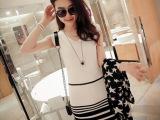 夏季韩版女装V领拼色修身条纹打底毛衣裙无袖背心打底包臀针织衫