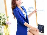 2015春装新款小西装女春秋韩版中长款修身大码显瘦长袖小西服外套