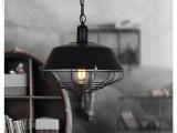 复古工业餐吊灯美式乡村铁艺吊灯单头锅盖服装店吧台餐厅现代吊灯
