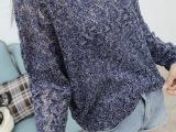 欧美风秋装新款 宽松长袖镂空针织衫女 V领薄款线衫 纯色套头毛衣
