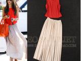 【明星同款】夏装欧美女装新款 直筒雪纺衫+长款半身裙套装