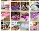 新款美容院床罩四件套纯棉会所植物花卉套件素色印花床裙批发
