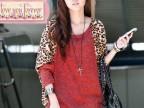 特价新款韩版女装大码女装豹纹拼接宽松大码蝙蝠衫长袖打底衫T恤
