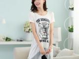 韩版2014新款女装打底衫 百搭纯棉短袖t恤女修身丅恤淘货源女装