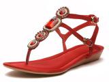 欧美外贸真皮女鞋 羊皮人字拖夏季凉鞋 磨砂皮平底鞋KL-T901