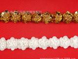 金色白色圆形亮片手工重工钉珠塑料米珠花朵形花边DIY可手缝辅料