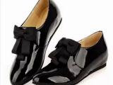 2014春季新款真皮尖头平跟单鞋蝴蝶结内增高深口英伦女鞋