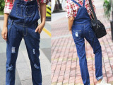 2015春季新款 韩版牛仔长裤时尚背带裤 磨破宽松女式背带裤批发