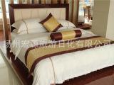 酒店旅馆优质加密全棉纯白色缎条被套布草定做宾馆床上用品批发
