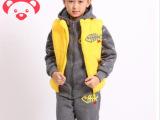 智慧森林  新款鱼骨头冬装男童套装儿童卫衣加厚大童男装三件套