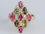 天然水晶 碧玺女戒指 玫瑰金镶钻戒指 菱形 韩版时尚 厂家直销