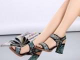 欧洲站夏季新款女鞋蛇纹牛皮高跟粗跟女凉鞋真皮魔术贴工厂直销