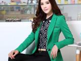 高档时尚小西装中长款绿色小西装外套女秋冬新款修身外套女上衣