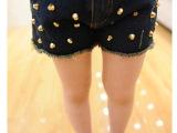 钊溢 2014独家定制版铆钉牛仔短裤欧货同款短裤 一件代发