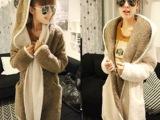 厂家直销 秋冬款抓绒保暖两面穿 毛绒双拼色中长款开衫大衣外套