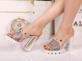 新款真皮高跟柳钉装饰,牛皮加进口网上脚超美超舒服女凉拖鞋